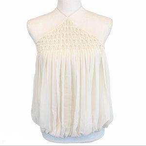 L'agence | White Silk Halter Neck Blouse Dressy